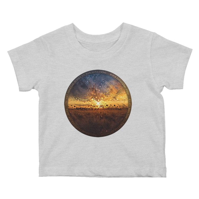 The Endless Sunset Over Our Golden Elysian Fields Kids Baby T-Shirt by The Fractal Art of San Jaya Prime