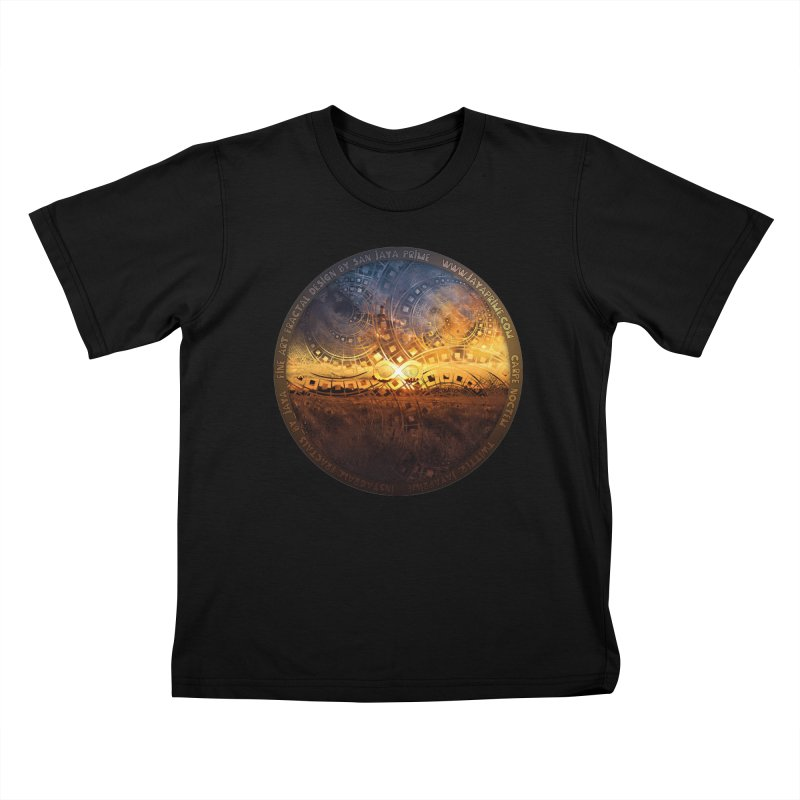 The Endless Sunset Over Our Golden Elysian Fields Kids T-Shirt by The Fractal Art of San Jaya Prime