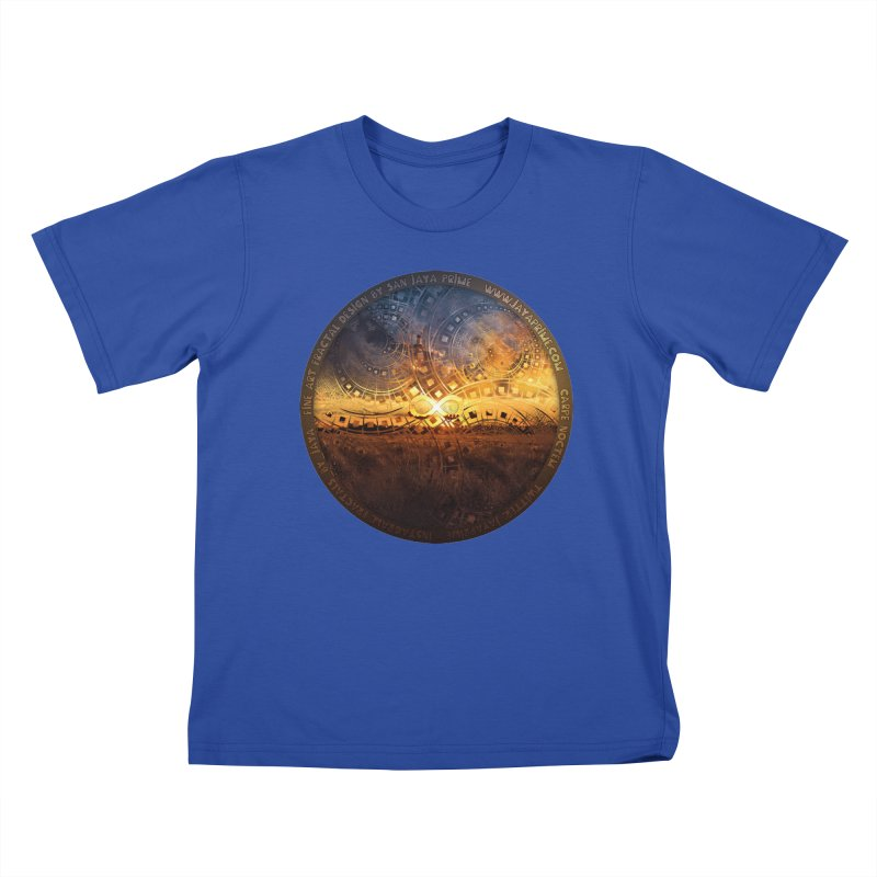 The Endless Sunset Over Our Golden Elysian Fields Kids T-Shirt by The Fractal Art of San Jaya Prime