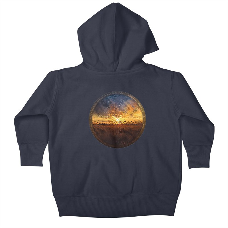 The Endless Sunset Over Our Golden Elysian Fields Kids Baby Zip-Up Hoody by The Fractal Art of San Jaya Prime