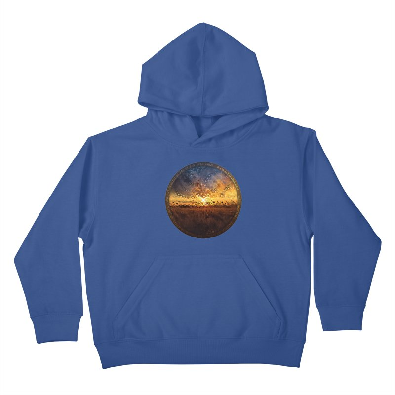 The Endless Sunset Over Our Golden Elysian Fields Kids Pullover Hoody by The Fractal Art of San Jaya Prime