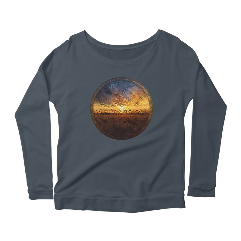 The Endless Sunset Over Our Golden Elysian Fields Women's Scoop Neck Longsleeve T-Shirt by The Fractal Art of San Jaya Prime