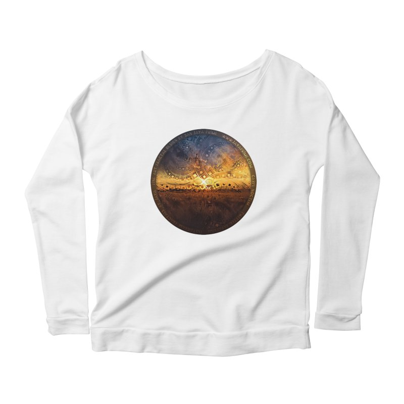 The Endless Sunset Over Our Golden Elysian Fields Women's Scoop Neck Longsleeve T-Shirt by The Fractal Art of San Jaya Prime