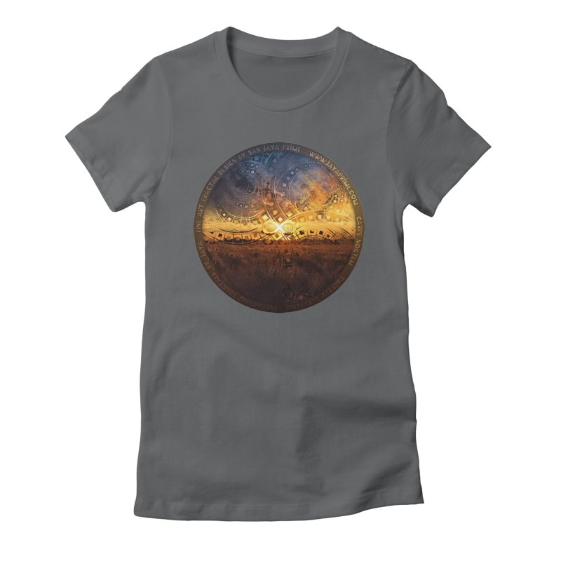 The Endless Sunset Over Our Golden Elysian Fields Women's Fitted T-Shirt by The Fractal Art of San Jaya Prime