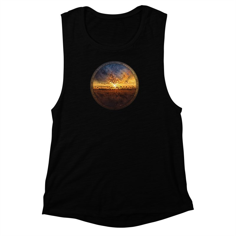 The Endless Sunset Over Our Golden Elysian Fields Women's Muscle Tank by The Fractal Art of San Jaya Prime