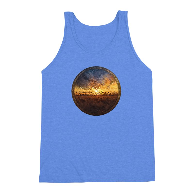 The Endless Sunset Over Our Golden Elysian Fields Men's Triblend Tank by The Fractal Art of San Jaya Prime