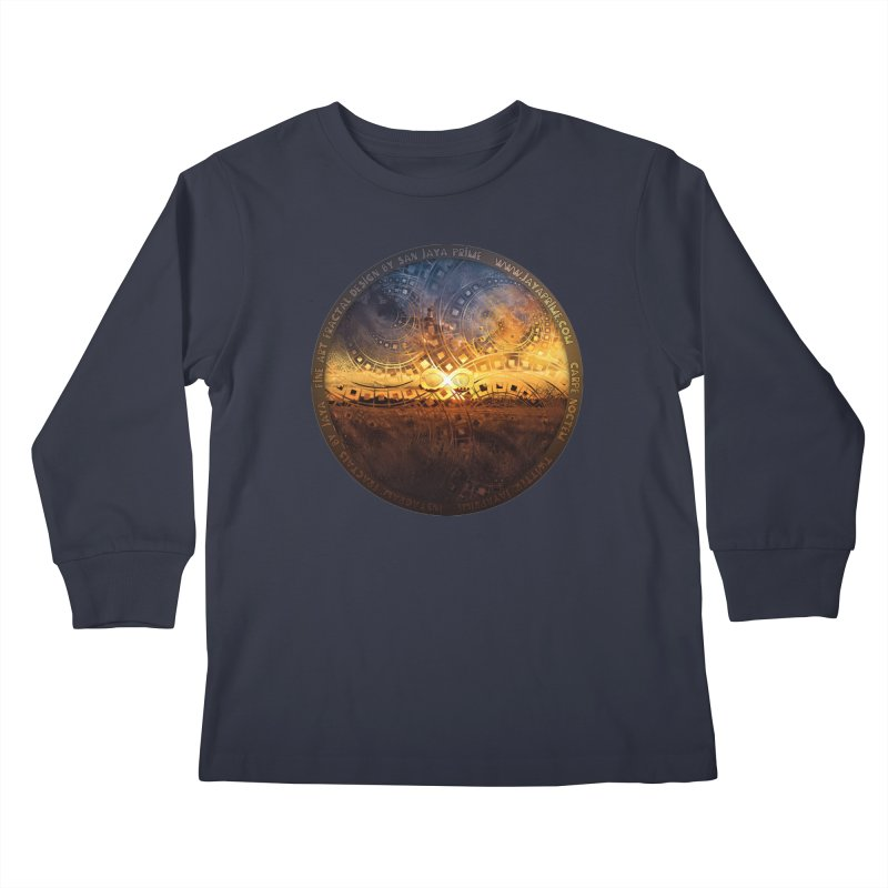 The Endless Sunset Over Our Golden Elysian Fields Kids Longsleeve T-Shirt by The Fractal Art of San Jaya Prime