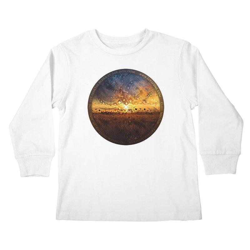 The Endless Sunset Over Our Golden Elysian Fields Kids Longsleeve T-Shirt by The Fractal Art of San Jaya Prime