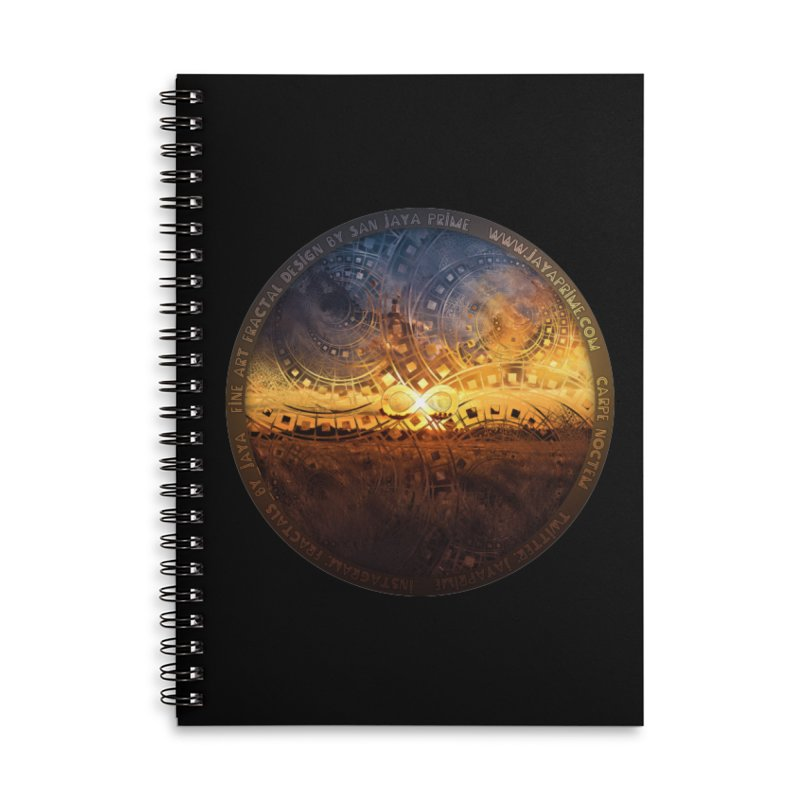 The Endless Sunset Over Our Golden Elysian Fields Accessories Lined Spiral Notebook by The Fractal Art of San Jaya Prime