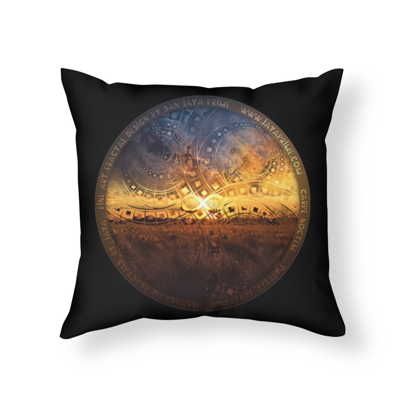 The Endless Sunset Over Our Golden Elysian Fields Home Throw Pillow by The Fractal Art of San Jaya Prime