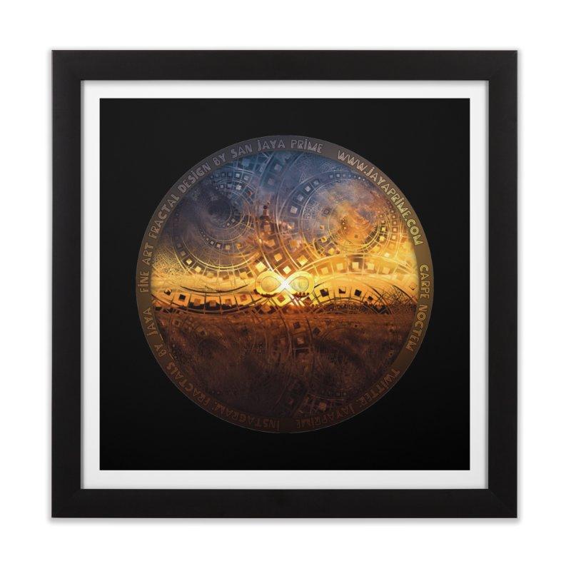 The Endless Sunset Over Our Golden Elysian Fields Home Framed Fine Art Print by The Fractal Art of San Jaya Prime