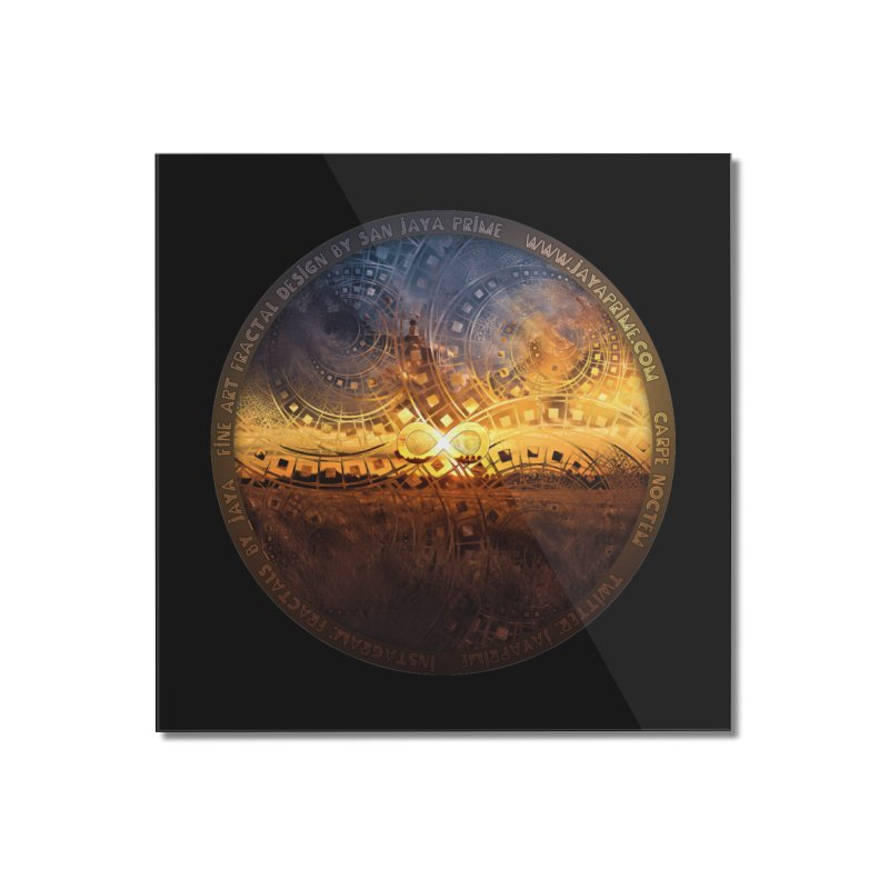 The Endless Sunset Over Our Golden Elysian Fields Home Mounted Acrylic Print by The Fractal Art of San Jaya Prime