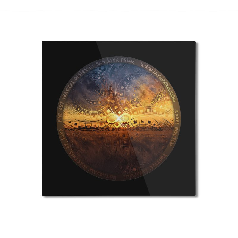 The Endless Sunset Over Our Golden Elysian Fields Home Mounted Aluminum Print by The Fractal Art of San Jaya Prime