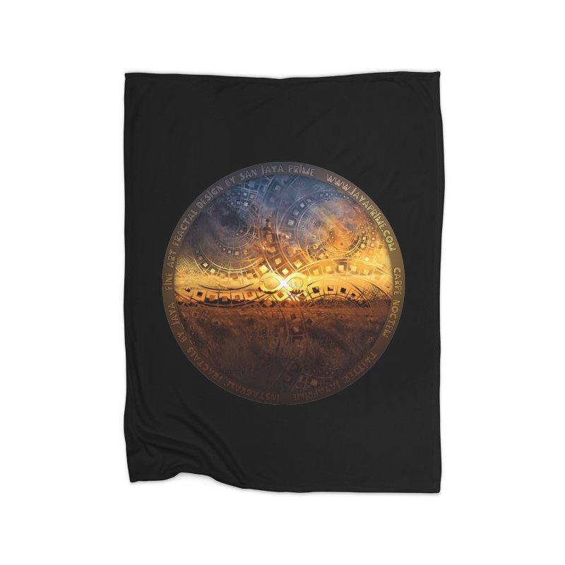 The Endless Sunset Over Our Golden Elysian Fields Home Fleece Blanket Blanket by The Fractal Art of San Jaya Prime