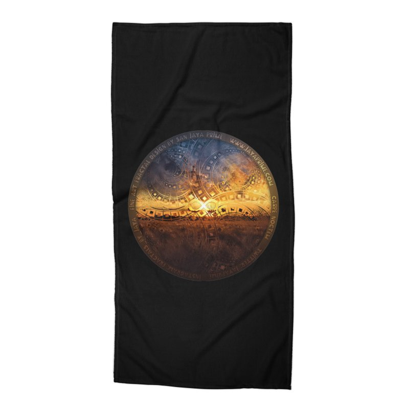 The Endless Sunset Over Our Golden Elysian Fields Accessories Beach Towel by The Fractal Art of San Jaya Prime