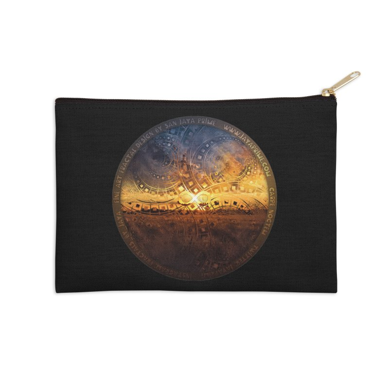 The Endless Sunset Over Our Golden Elysian Fields Accessories Zip Pouch by The Fractal Art of San Jaya Prime