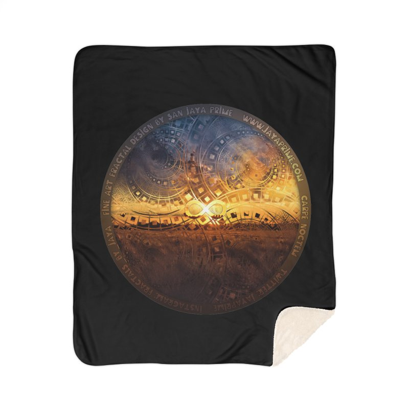 The Endless Sunset Over Our Golden Elysian Fields Home Sherpa Blanket Blanket by The Fractal Art of San Jaya Prime