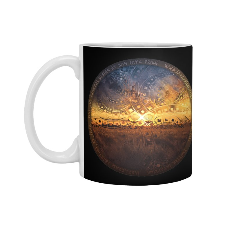 The Endless Sunset Over Our Golden Elysian Fields Accessories Standard Mug by The Fractal Art of San Jaya Prime