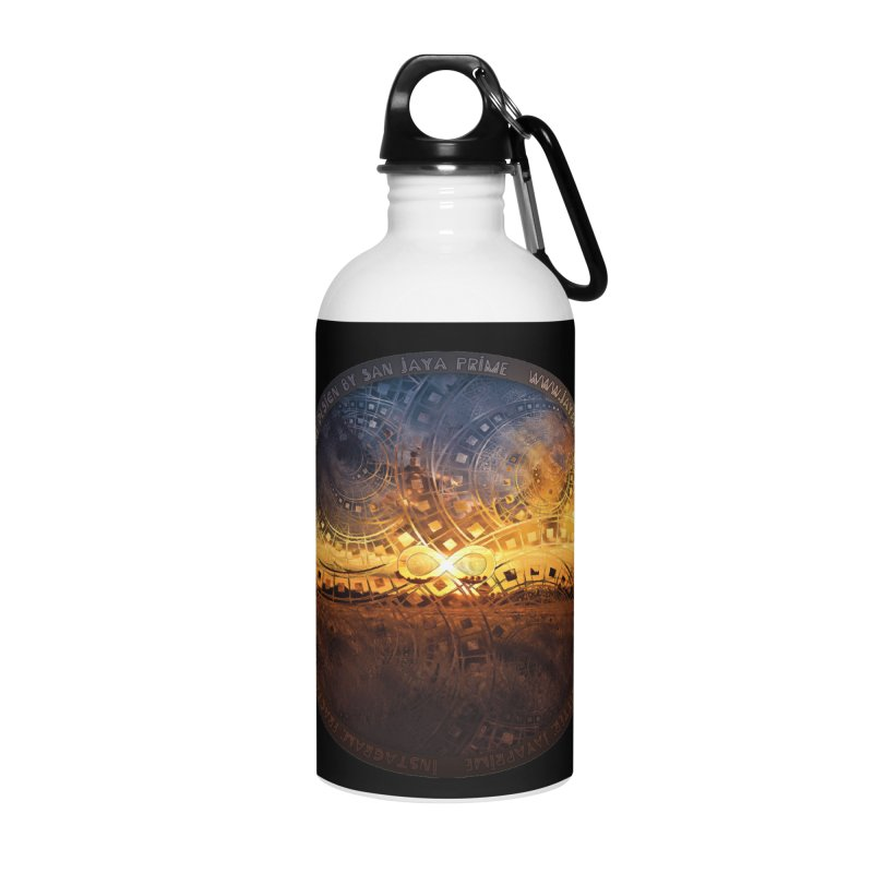 The Endless Sunset Over Our Golden Elysian Fields Accessories Water Bottle by The Fractal Art of San Jaya Prime
