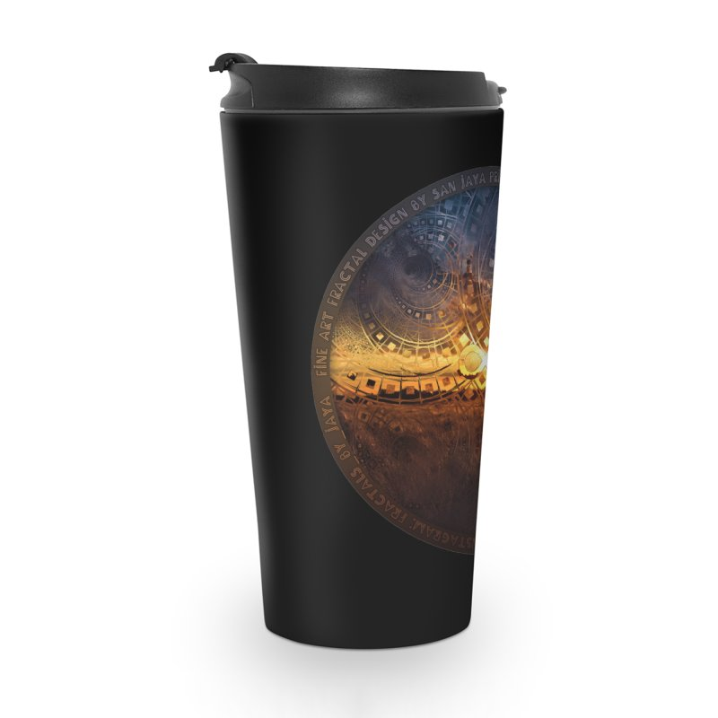 The Endless Sunset Over Our Golden Elysian Fields Accessories Travel Mug by The Fractal Art of San Jaya Prime