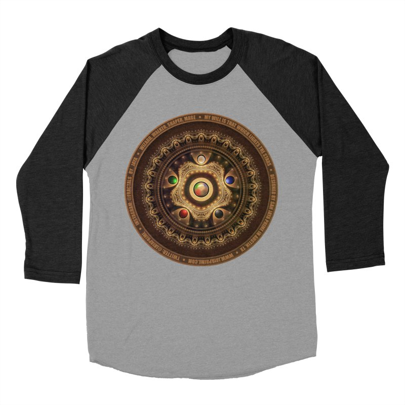 The Mox Fractal Jeweled Colors of Magic the Gathering Women's Baseball Triblend Longsleeve T-Shirt by The Fractal Art of San Jaya Prime