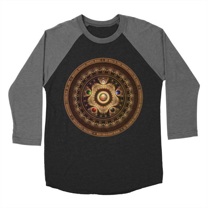 The Mox Fractal Jeweled Colors of Magic the Gathering Men's Baseball Triblend Longsleeve T-Shirt by The Fractal Art of San Jaya Prime