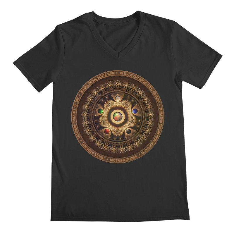 The Mox Fractal Jeweled Colors of Magic the Gathering Men's Regular V-Neck by The Fractal Art of San Jaya Prime