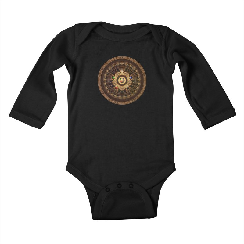 The Mox Fractal Jeweled Colors of Magic the Gathering Kids Baby Longsleeve Bodysuit by The Fractal Art of San Jaya Prime
