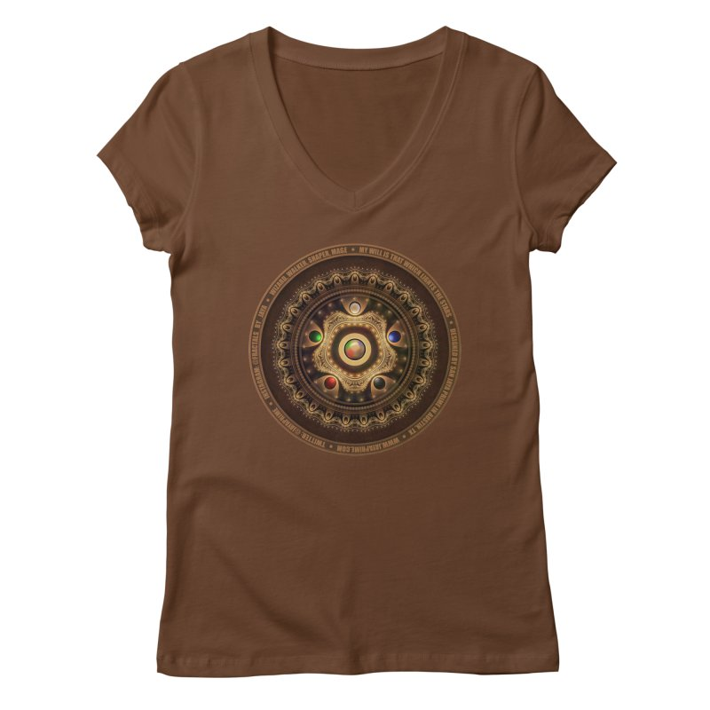The Mox Fractal Jeweled Colors of Magic the Gathering Women's Regular V-Neck by The Fractal Art of San Jaya Prime