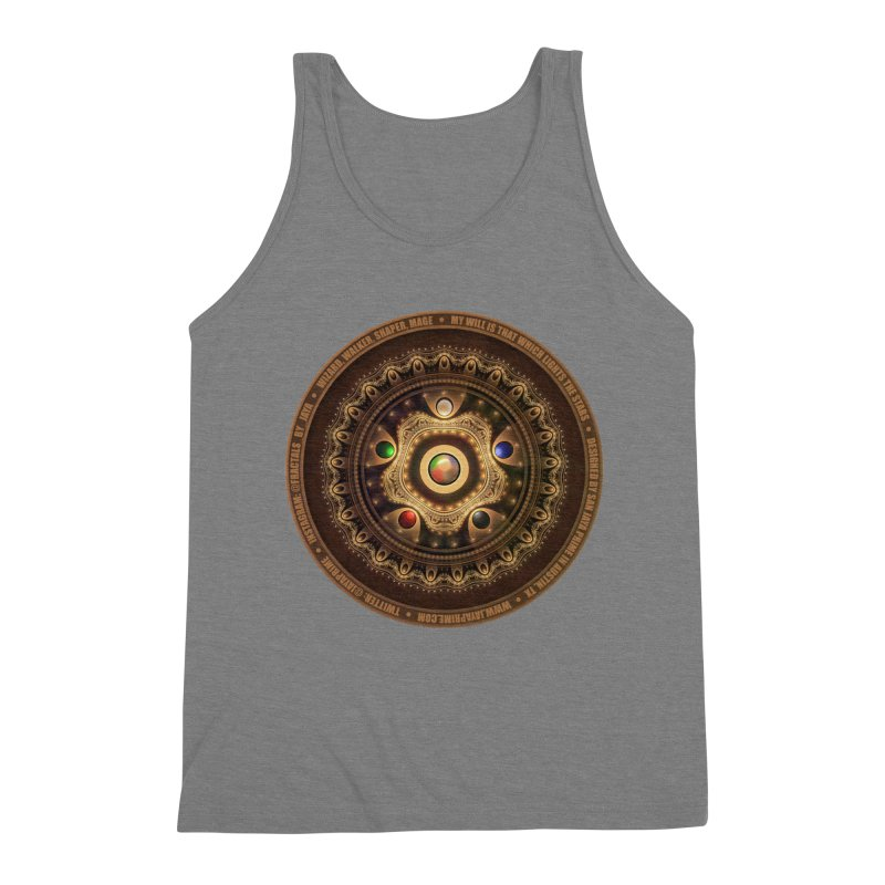 The Mox Fractal Jeweled Colors of Magic the Gathering Men's Triblend Tank by The Fractal Art of San Jaya Prime