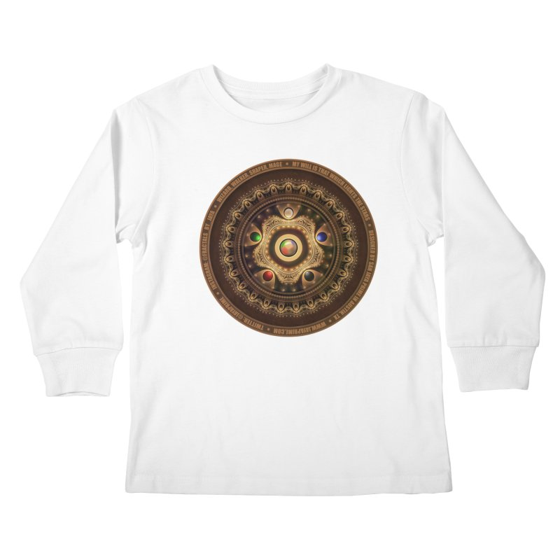 The Mox Fractal Jeweled Colors of Magic the Gathering Kids Longsleeve T-Shirt by The Fractal Art of San Jaya Prime