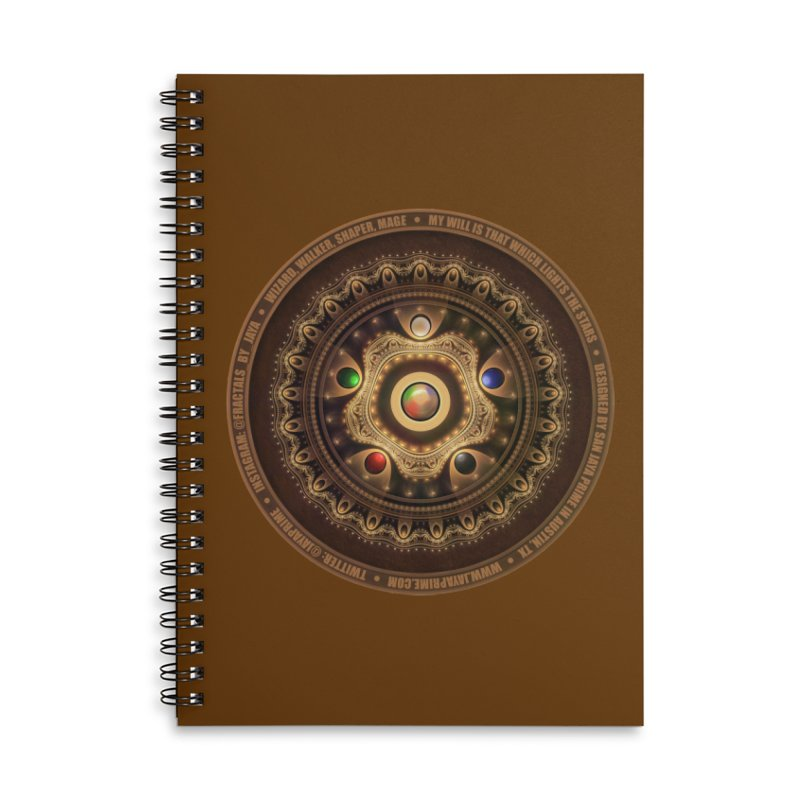 The Mox Fractal Jeweled Colors of Magic the Gathering Accessories Lined Spiral Notebook by The Fractal Art of San Jaya Prime