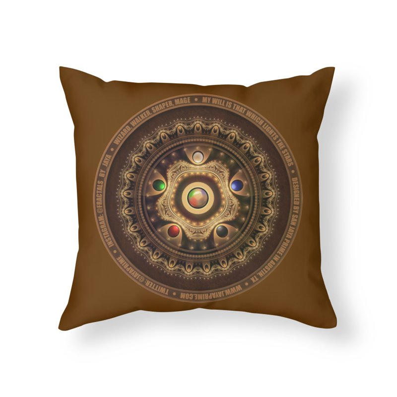 The Mox Fractal Jeweled Colors of Magic the Gathering Home Throw Pillow by The Fractal Art of San Jaya Prime