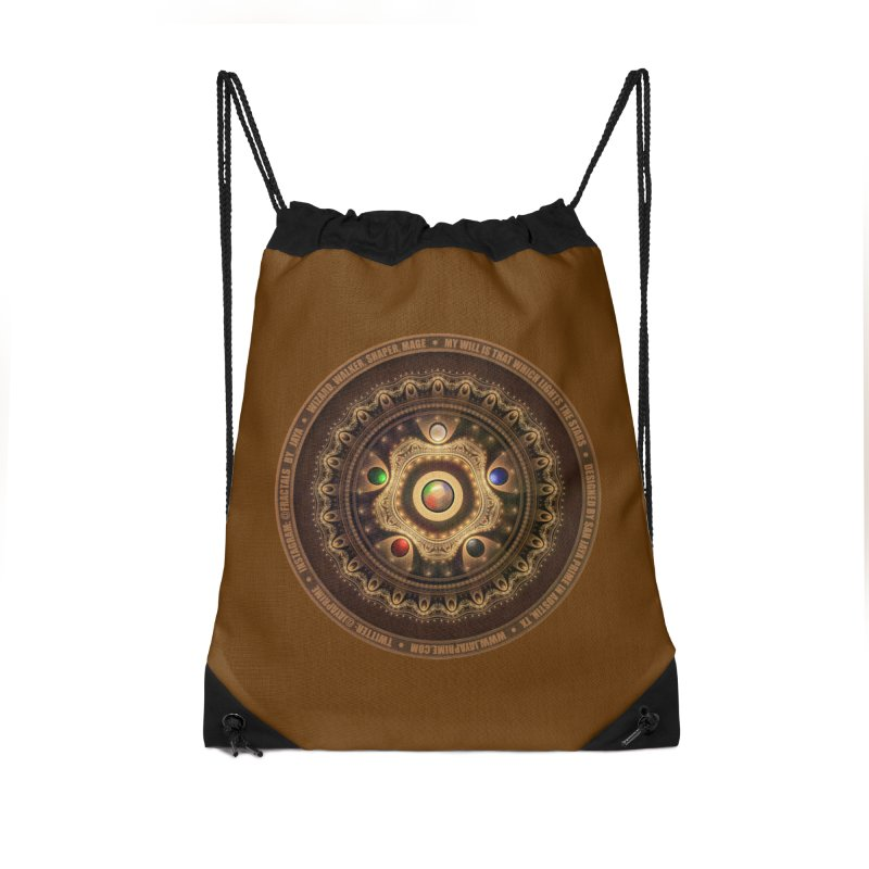 The Mox Fractal Jeweled Colors of Magic the Gathering Accessories Drawstring Bag Bag by The Fractal Art of San Jaya Prime