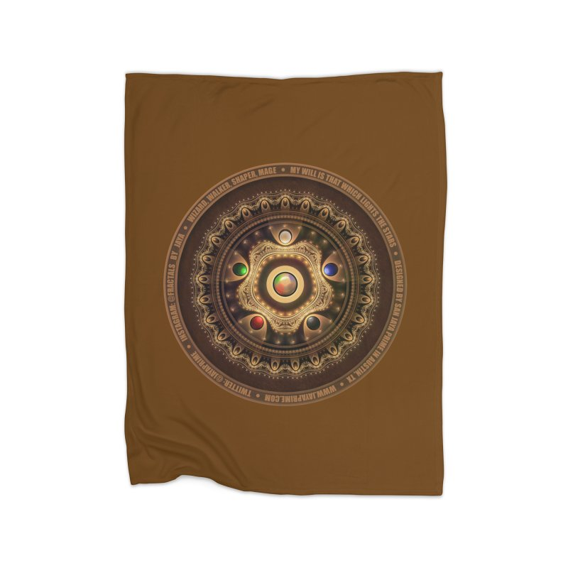 The Mox Fractal Jeweled Colors of Magic the Gathering Home Fleece Blanket Blanket by The Fractal Art of San Jaya Prime