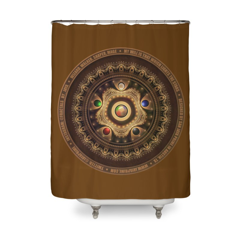 The Mox Fractal Jeweled Colors of Magic the Gathering Home Shower Curtain by The Fractal Art of San Jaya Prime