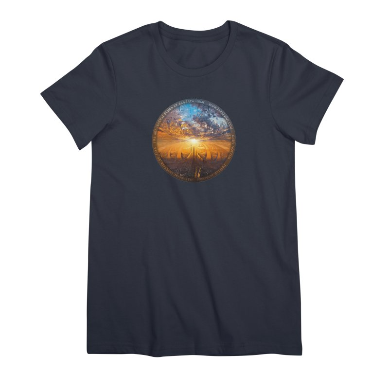A Stained Glass Fractal Sunset Over Tianjin, China Women's Premium T-Shirt by The Fractal Art of San Jaya Prime