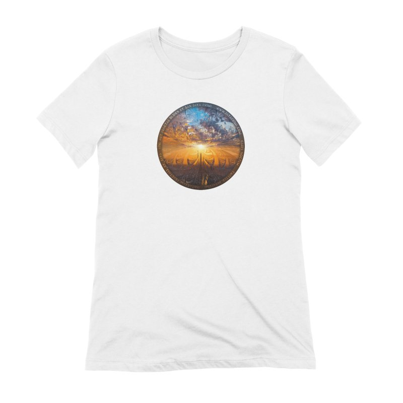 A Stained Glass Fractal Sunset Over Tianjin, China Women's Extra Soft T-Shirt by The Fractal Art of San Jaya Prime