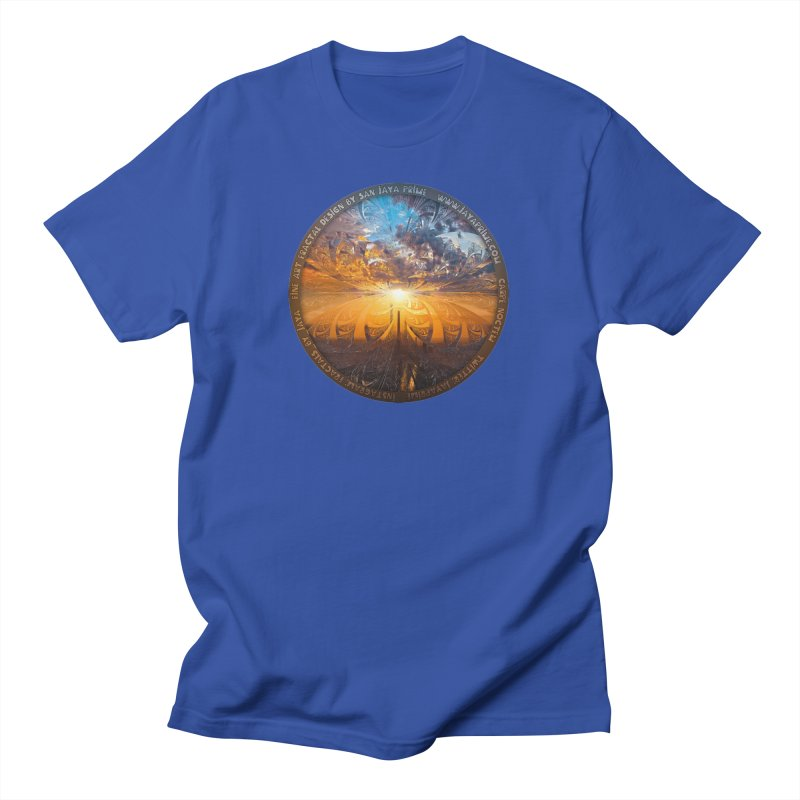 A Stained Glass Fractal Sunset Over Tianjin, China Men's T-Shirt by The Fractal Art of San Jaya Prime