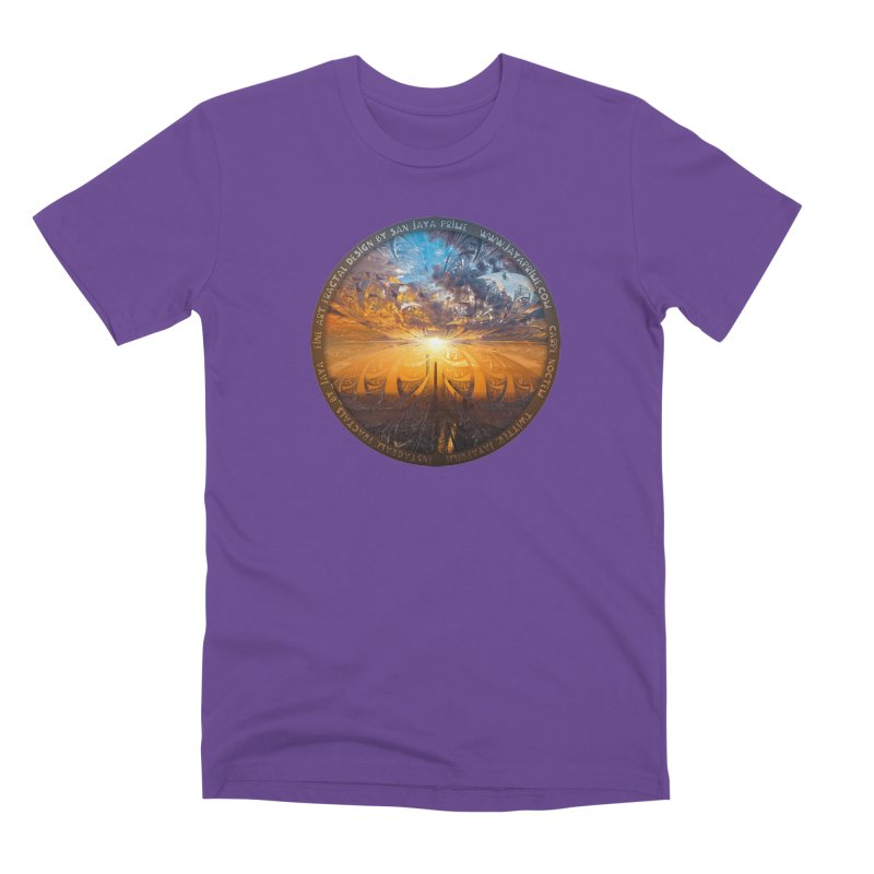 A Stained Glass Fractal Sunset Over Tianjin, China Men's Premium T-Shirt by The Fractal Art of San Jaya Prime