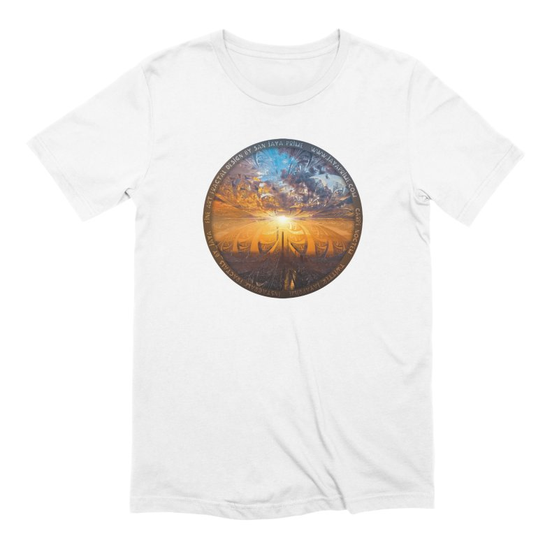A Stained Glass Fractal Sunset Over Tianjin, China Men's Extra Soft T-Shirt by The Fractal Art of San Jaya Prime