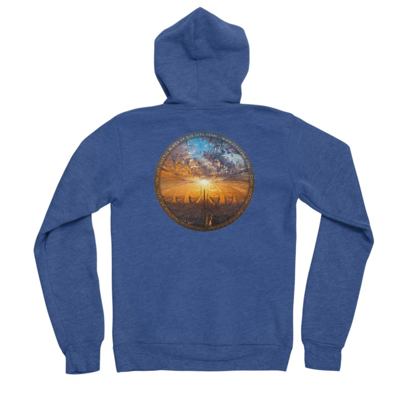 A Stained Glass Fractal Sunset Over Tianjin, China Women's Sponge Fleece Zip-Up Hoody by The Fractal Art of San Jaya Prime