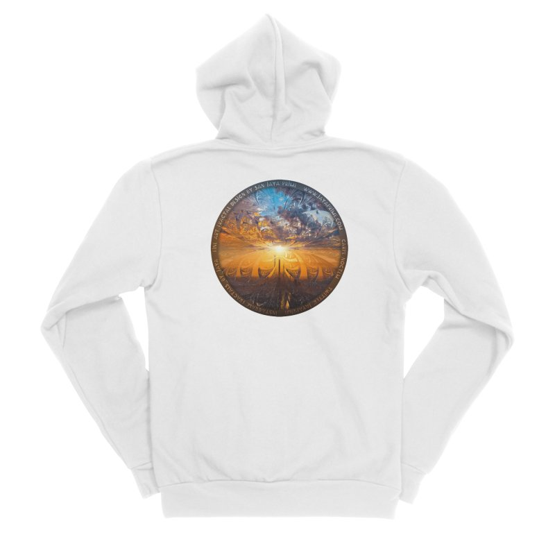 A Stained Glass Fractal Sunset Over Tianjin, China Men's Zip-Up Hoody by The Fractal Art of San Jaya Prime