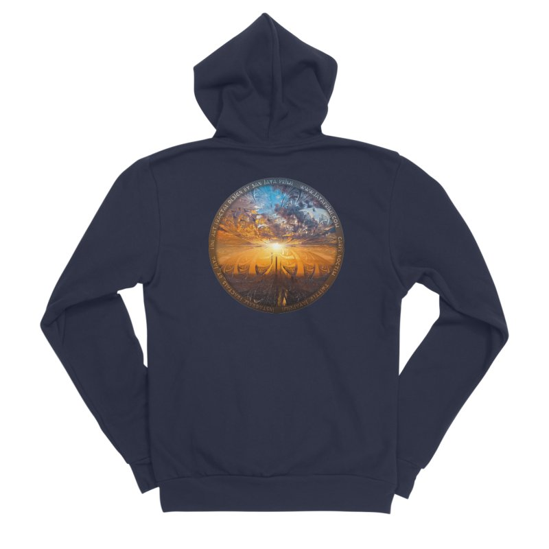 A Stained Glass Fractal Sunset Over Tianjin, China Men's Sponge Fleece Zip-Up Hoody by The Fractal Art of San Jaya Prime