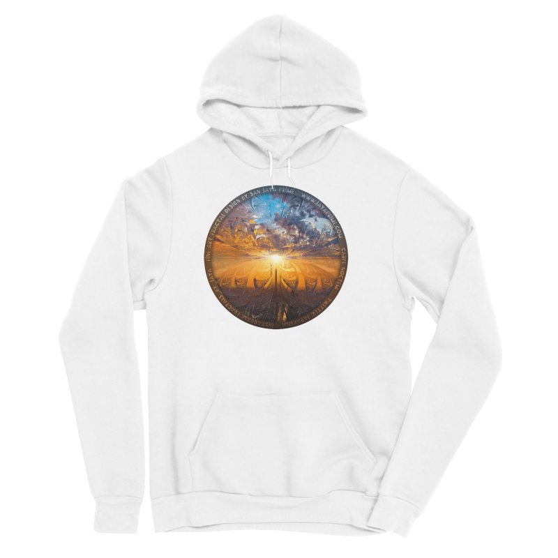 A Stained Glass Fractal Sunset Over Tianjin, China Women's Sponge Fleece Pullover Hoody by The Fractal Art of San Jaya Prime