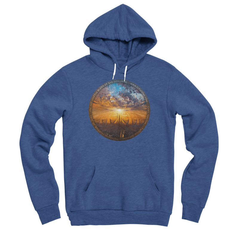 A Stained Glass Fractal Sunset Over Tianjin, China Men's Sponge Fleece Pullover Hoody by The Fractal Art of San Jaya Prime