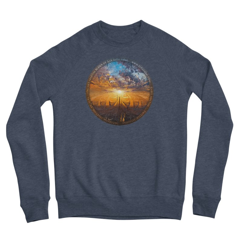 A Stained Glass Fractal Sunset Over Tianjin, China Men's Sponge Fleece Sweatshirt by The Fractal Art of San Jaya Prime