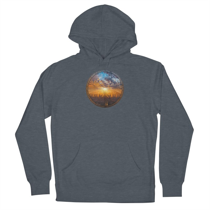 A Stained Glass Fractal Sunset Over Tianjin, China Men's Pullover Hoody by The Fractal Art of San Jaya Prime