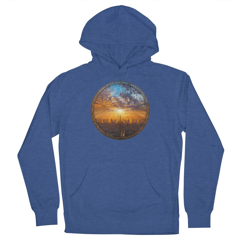 A Stained Glass Fractal Sunset Over Tianjin, China Men's French Terry Pullover Hoody by The Fractal Art of San Jaya Prime