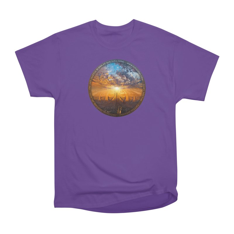 A Stained Glass Fractal Sunset Over Tianjin, China Women's Heavyweight Unisex T-Shirt by The Fractal Art of San Jaya Prime
